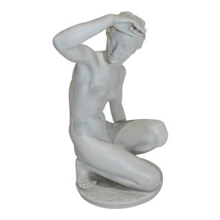 "Sculpture ""Die Hockende"" by Klimsch (1870-1960) Produced by Rosenthal For Sale"