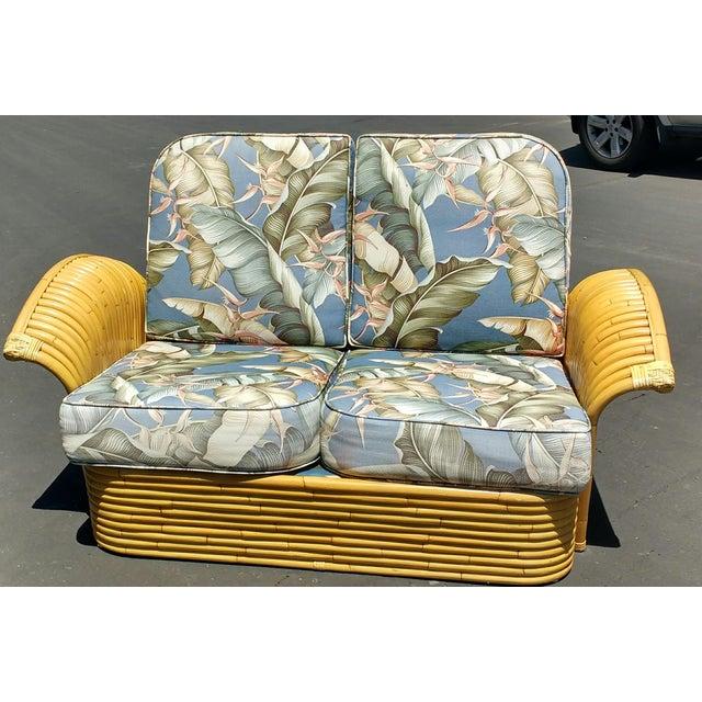 Art Deco Rattan Fan Arm 2 Seat Sofa - Image 3 of 8
