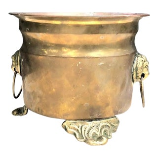 Brass Footed Lion Planter W/ Knocker Handles For Sale