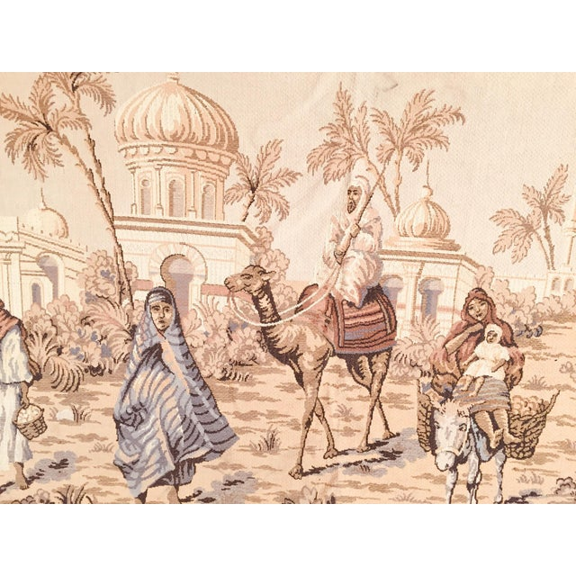 Large Aubusson style tapestry with an orientalist 19th century scene depicting Arabs figures and Middle Eastern Moorish...