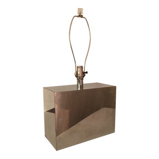 Mid Century Kovacs Mirrored Rectangular Chrome Table Lamp For Sale