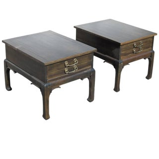 Pair of Asian Style Wood Nightstands For Sale