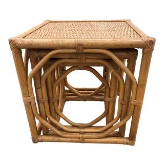 Vintage Rattan Nesting Tables