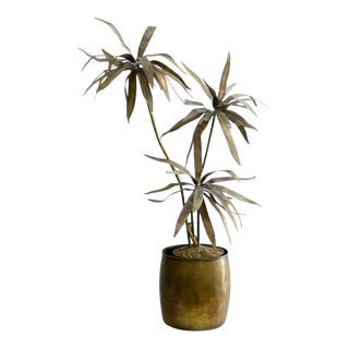 Mid-Century Modern Brutalist Brass Palm Tree in the Style of Curtis Jere For Sale