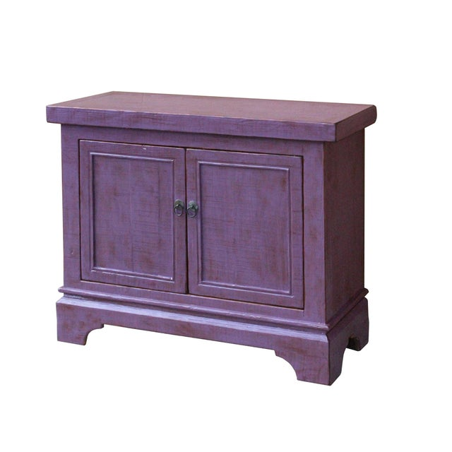 Arts & Crafts Distressed Purple Lacquer Rough Raw Wood Credenza Console Table Cabinet For Sale - Image 3 of 9