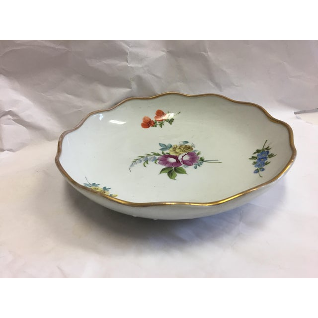 Gold Rim Porcelain Floral Dish For Sale In New York - Image 6 of 7