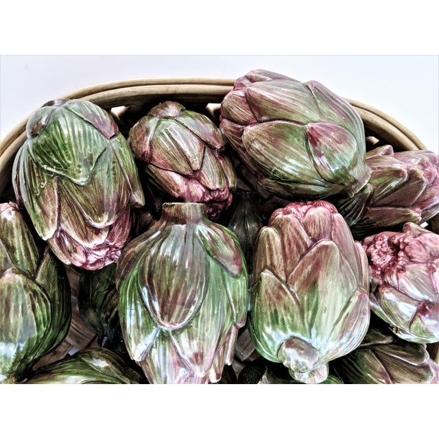 Jay Wilfred Div. Of Andrea Sadek Ceramic Basket With Artichokes For Sale - Image 9 of 11