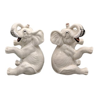 20th Century Fitz and Floyd White Elephant Bookends- A Pair For Sale