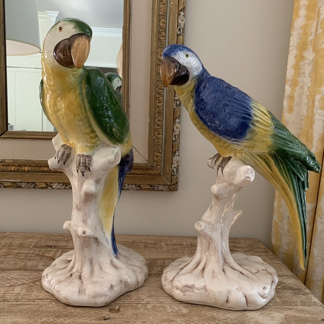 Blue Large Vintage Italian Handpainted Parrots- a Pair For Sale - Image 8 of 11