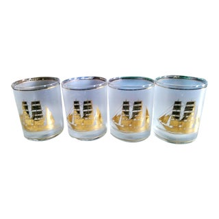 Set of 4 Vintage Culver Barware Drinking Cocktail Gold Clipper Ship Glasses For Sale