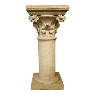 Antique Neo-Gothic Terra Cotta Pedestal From France, Circa 1890 For Sale