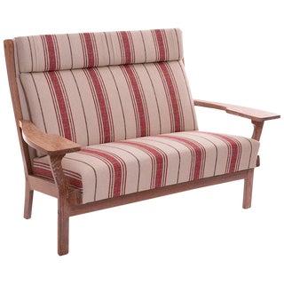 1960s Vintage Hans Wegner Cerused Oak Paddle Arm Sofa For Sale