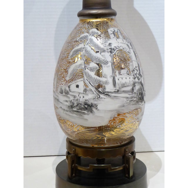 Italian 1940s Italian Hand Painted Glass Landscape Scene Table Lamp For Sale - Image 3 of 11