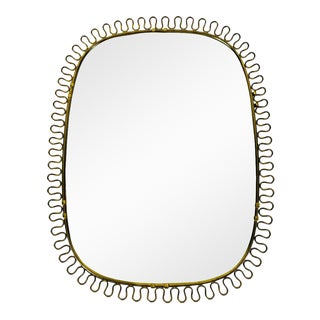 Italian Brass Framed Wall Mirror, 1960s, Italy For Sale