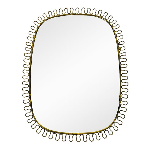 Italian Brass Framed Wall Mirror, 1960s, Italy For Sale