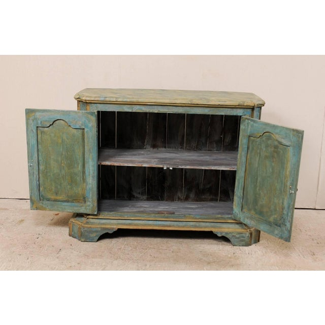 Teal Custom Vintage Italian Style Two-Door Painted Wood American Buffet Console For Sale - Image 8 of 10