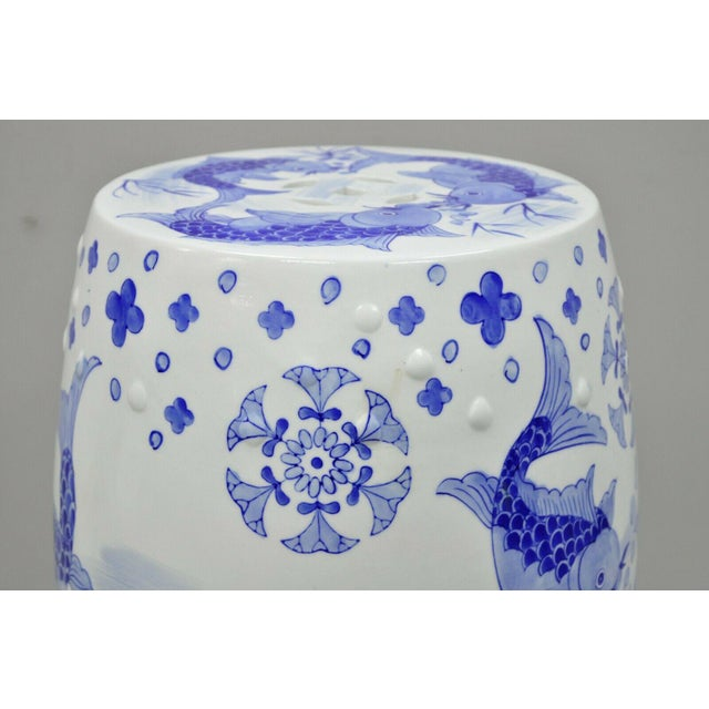 Blue & White Koi Fish Porcelain Chinese Garden Stool For Sale In Philadelphia - Image 6 of 12