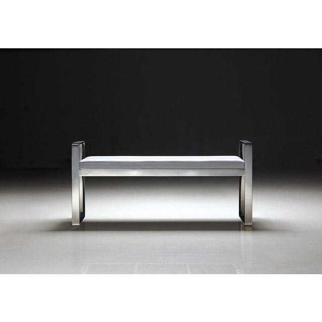 Pasargad Luxe Collection Faux Leather Bench - Image 2 of 8