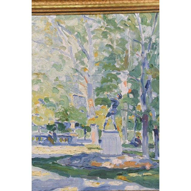 Impressionism Impressionist Park Scene Oil Painting on Canvas For Sale - Image 3 of 8