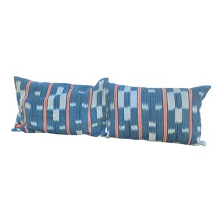 Blue & White Pillow Covers - A Pair For Sale