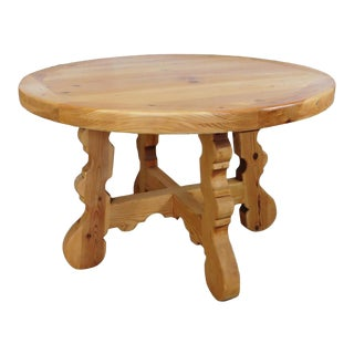 Rustic Round Knotty Pine Tavern Dining Table For Sale