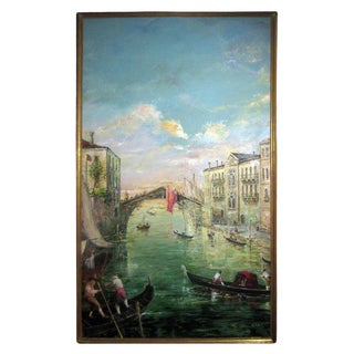 Late 20th Century Ponte Delle Guglie Venice Valerio Zerbo Italian Oil Painting For Sale