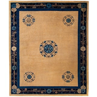 "Apadana - Antique Chinese Peking Rug, 9'5"" X 8' For Sale"