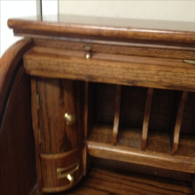 Eagle Craft Oak Roll Top Secretary Desk For Sale In Houston - Image 6 of 11