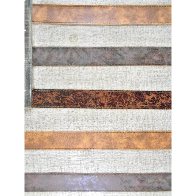 Large Rustic Wood & Leather American Flag Wall Art - Image 5 of 9