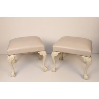 Chippendale Ivory Painted and Leather Upholstered Benches - a Pair Preview