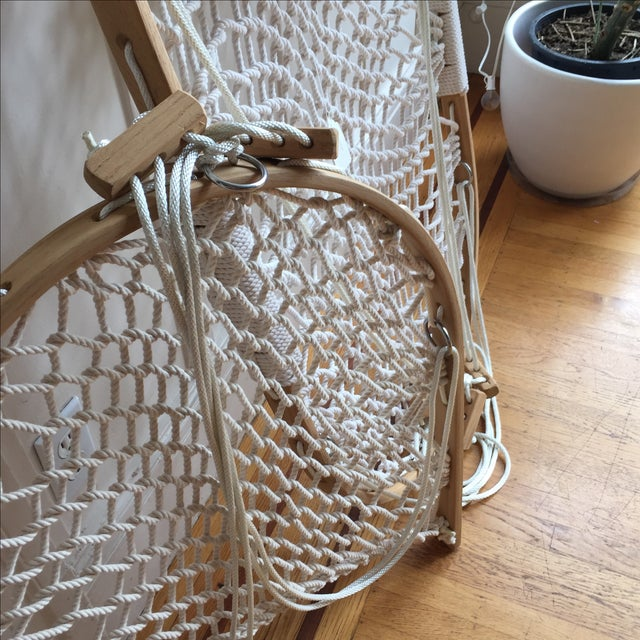 Bent Oak Rope Hanging Hammock Chair With Foothold - Image 6 of 7
