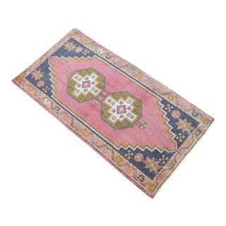 Hand Knotted Door Mat, Entryway Rug, Bath Mat, Kitchen Decor, Small Rug, Turkish Rug - 1′11″ × 3′7″ For Sale