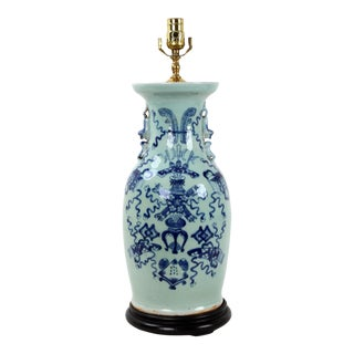 19th Century Chinese Blue & White Celadon Porcelain Lamp For Sale