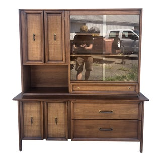 Mid Century Modern China Cabinet With Cane Fronts & Glass Doors For Sale