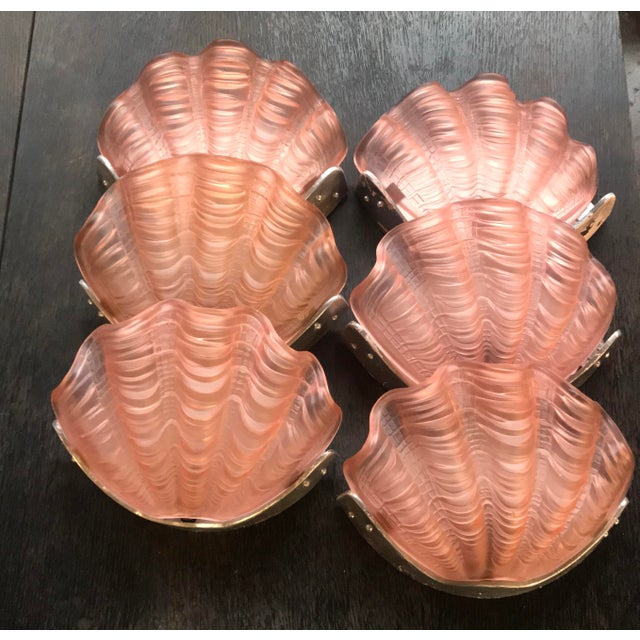 Aluminum French Frosted Glass Molded Pink Shell Sconces For Sale - Image 7 of 7