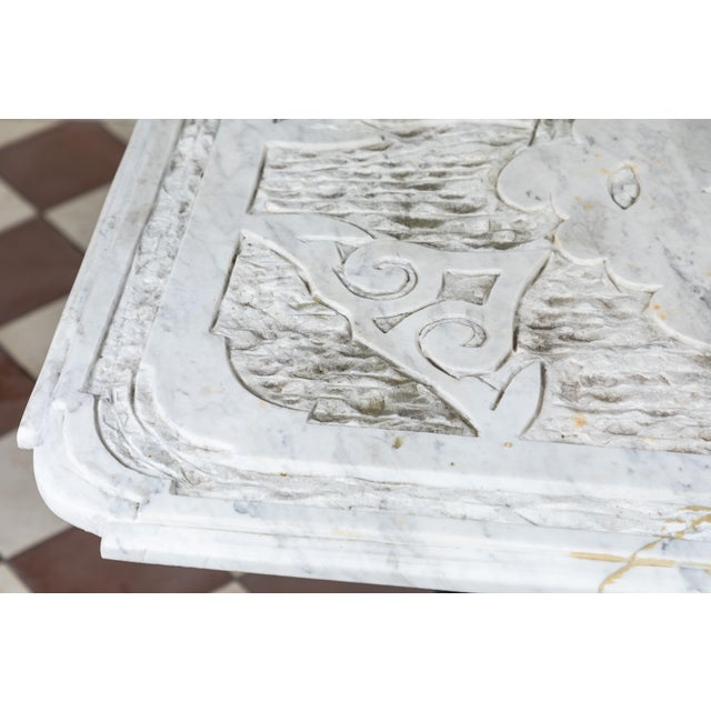 Late 19th Century 19th Century Castel Franco Hand Chiseled Marble Table with Iron Base For Sale - Image 5 of 12