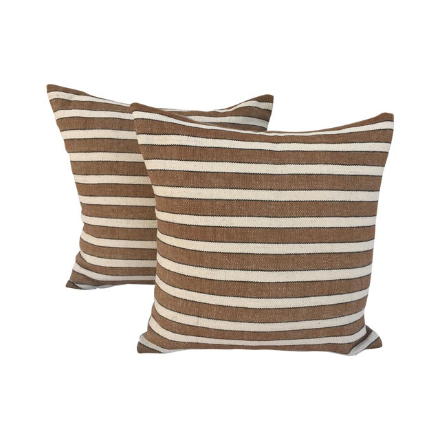 Striped Woven Neutral Pillows - Pair - Image 1 of 7