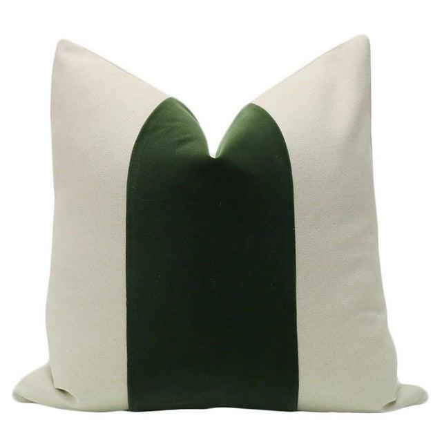 "Pair of 22"" neutral linen pillows with center velvet panel in fern. Coordinating neutral linen reverse, knife edge finish,..."