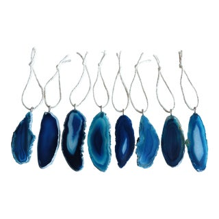 Agate Slice Christmas Ornaments - Set of 8 For Sale