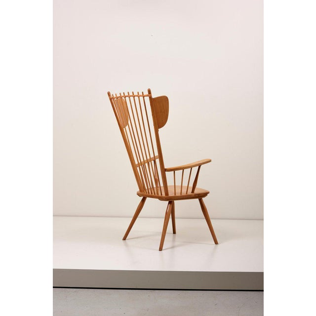 1950s Albert Haberer Wingback Armchair in Solid Wood, Germany, 1950 For Sale - Image 5 of 13