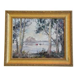 Original Joyce Pike Morro Bay Rock California Framed Oil Painting For Sale
