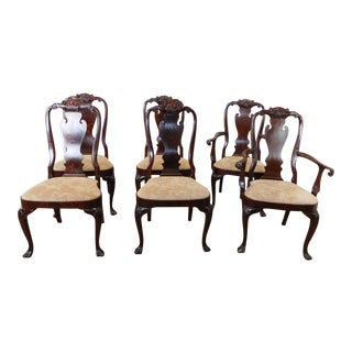 Set 6 Mahogany Council Craftsmen Queen Anne Style Dining Room Chairs 1990s