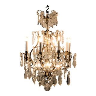 Antique French Napoleon III Crystal and Bronze Chandelier, Circa 1890.