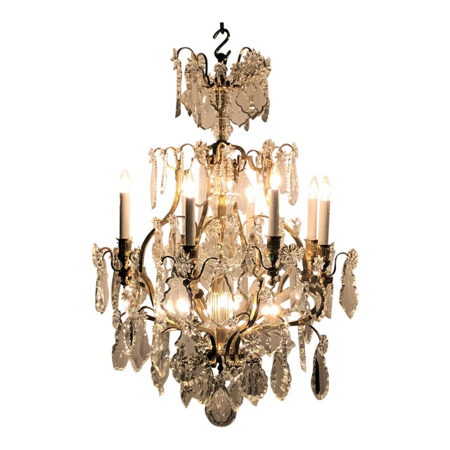 Antique French Napoleon III Crystal and Bronze Chandelier, Circa 1890. For Sale