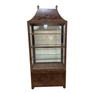 Pagoda Style Rustic Glass Metal Display Case For Sale