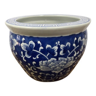 Vintage Chinese Blue & White Peony Fish Bowl Jardiniere Planter For Sale