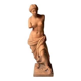 """1920's Venus De Milo 20"""" Plaster Painted Terra Cotta Statue"""