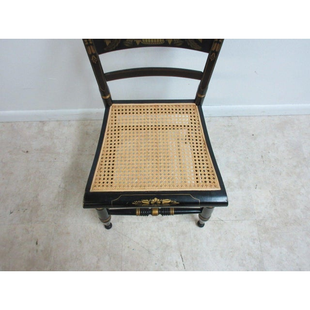 Vintage Hitchcock Style Cane Seat Side Chair For Sale - Image 5 of 10
