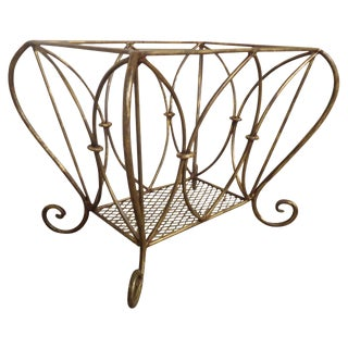 1960s Hollywood Regency Style Basket / Magazine Rack For Sale
