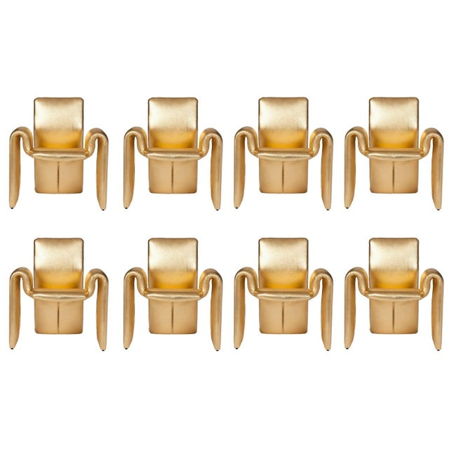 Metallic Gold Leather Dining Chairs - Set of 8 | Chairish